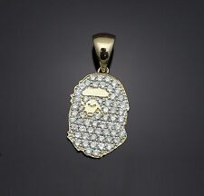 bape custom pendant jewelry 14k yellow fine gold with 0.8ct natural diamond