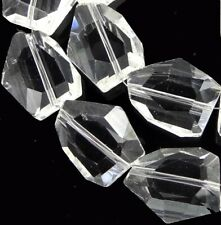 20x15mm Handmade Faceted Clear Crystal Nugget Beads (12pcs)