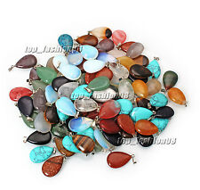 Wholesale Lot 100pcs Natural Gemstone Drop Silver Plated Beads Pendant FREE