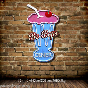 Metal Hanging Tin Signs Be-Bops Diner Hand-painted Poster Restaurant Decor
