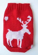 Chihuahua (XS) Christmas Jumper Red & White Reindeer Knitted Sweater Pet Clothes