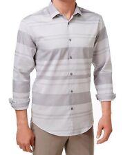 Men's ALFANI Mayvis Striped cotton Shirt, Active Steel, Size: L