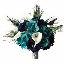 Bridal Bouquet: Peacock Bling rhinestone wedding silk flower