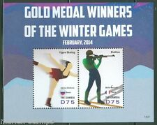 THE GAMBIA  2014 SOCHI OLYMPIC GAMES GOLD MEDAL WINNERS  SOUVENIR  SHEET MINT NH