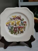 Johnson Brothers Old Flower Prints Plate Pansy Square Salad Dessert Thanksgiving