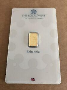 1g Royal Mint Gold Britannia Bullion Bar In Sealed Assay Card