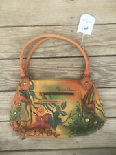 Anuschka Sz Medium Double Handle Satchel 7064 - SBL RARE Flowers Tote Hobo