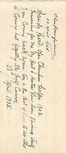 "ALEX ""SANDY"" HERD SIGNED NOTE - 1902 OPEN CHAMPION - JSA LOA  -  FREE SHIPPING"