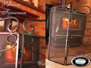 FIREPLACE ACCESSORIES Firescreens *PAVONE 3 panel fire screen *Wrought Iron