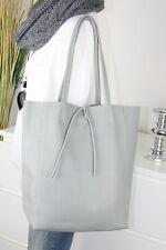 Italy bolso funda de cuero real de piel henkel Shopper Bag gris claro h/m-8