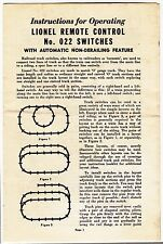 [55708] 1957 LIONEL TRAINS REMOTE CONTROL No. 022 SWITCHES INSTRUCTIONS
