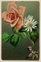 Vintage Antique Postcard Floral Rose Daisies Ribbon Glitter Happy New Year