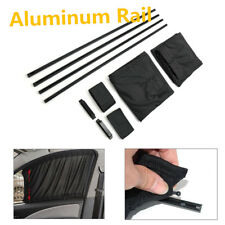Metal Rail Car Sliding Track Curtain Elastic Window Sunshade Visor Black 50x47cm