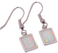 Stunning Square Style Fashion White Fire Lab Opal Silver Drop Dangle Earrings