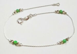 Sterling Silver 925 Chain, Laser Cut and LIGHT GREEN OPAL Beads ANKLET Your size