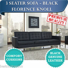 Brand New Replica Florence Knoll 3 Seater modern Black Leather Sofa Lounge