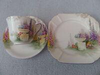 "Shelley Art Deco "" Garden Urn "" Vincent Shape Trio - Cup, Tea Plate, Saucer a/f"