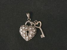 Vintage Sterling Silver Key To My Heart CZ Pendant/ Charm Make Offer! #2491