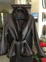 New Leather With Mink Trim Belted Brown Jacket Made In Argentina Size Small