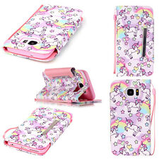 For Various Mobile Phones Cute Unicorn Patten Wallet Leather Case Cover W/Strap