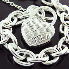 3XRT9 GENUINE REAL 925 STERLING SILVER LADIES DIAMOND SIMULATED PADLOCK BRACELET