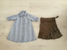 GIRLS BUNDLE AGE 4 - 5 YRS: NEXT KHAKI QUIRKY SKIRT & NEXT LINEN MIX SHIRT DRESS