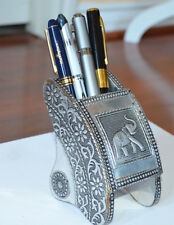 Wooden White Metal Itched Design Multi Use Pen Holder from Craft Options India!