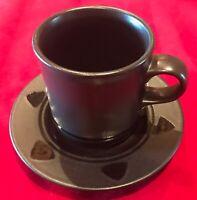 Pfaltzgraff MIDNIGHT SUN Black Coffee Cups & Saucers Set of 6 EUC