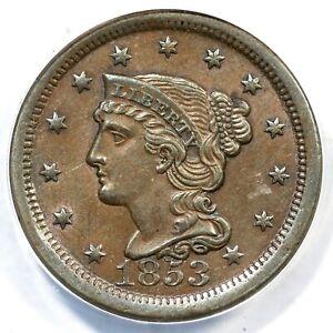 1853 N-15 R-2 ANACS AU 55 Braided Hair Large Cent Coin 1c
