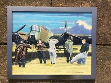 Oil on board airplane painting Colin Fairbrother Whitley MK IV bomber & crew RAF