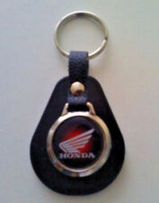 Honda Motorbike Red Fade Pear Shaped Leather/Metal Keyring