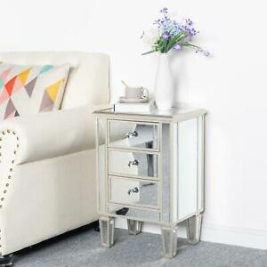 Mirrored 3 Drawer Nightstand End Table Crystal Accent Chest Bedside Table