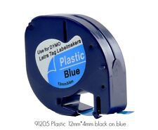 DYMO 91205 Letratag 12mm Plastic Label Tape Cassette, 1/2in X 13ft, Blk/Blue