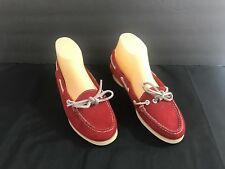 Vintage Polo Ralph Lauren Women's Red Leather Boat Shoes Sz 9 2A Maine Made
