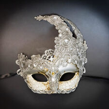 Women Lace Venetian Goddess Masquerade Mask Made of Resin Gray Silver M7630