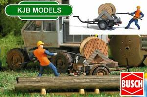BNIB OO / HO BUSCH 7836 CABLE DRUM ON TRAILER + FIGURE IDEA FOR NETWORK RAIL/ BR