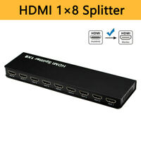 HDMI Splitter 1x8 Video Adapter 1080P 1 in 8 out 3D 8 Ports for PS4 HDTV DVD PC