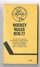 CAHA Hockey Rules Book Guide 1976-77 Penticton BC Canada