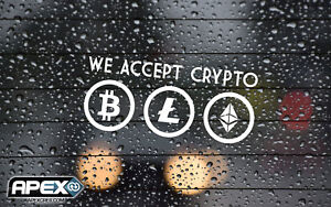 We Accept Crypto Here - Pay - Bitcoin Litecoin Shop Payment Sticker - WHITE
