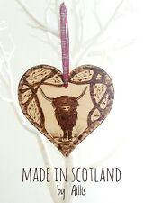 Highland cow wooden heart wall plaque ornament home decor interior