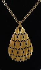 "vintage Crown Trifari brushed & shiny gold modernist pendant necklace 28"" chain"