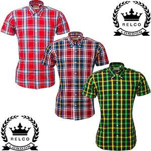 Relco Womens Ladies Check Short Sleeve Shirt Button Down Collar Mod Summer '21