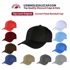 Top Level Plain Multi-Color Polyester Fitted Size Baseball Cap Hat 10 sizes