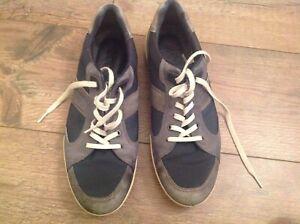 Ecco Leather Men Trainers/sneakers Size Eu 43 uk 9 Grey/navy-Ecco men's trainers