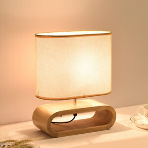 Fabric Wood Table Lamps for Bedroom Lamp Desk Stand Light Fixtures Home Decor