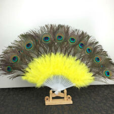 Hot Belly Dance Peacock Feather Fan 11 colours Costume Peacock Folding Hand Fan