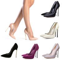 Onlymaker Women Shiny Thin High Heel Pointed Toe Stiletto Slip On Pumps Big Size
