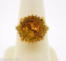 Ring 10k yellow gold 12 mm round citrine quartz November birthstone