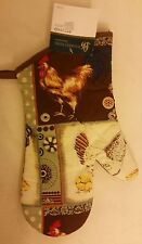 """Fabric Printed Kitchen 13"""" Jumbo Oven Mitt, ROOSTER by Pleasant Home"""