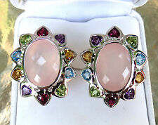 New 14K White Gold Rose Quartz & Multi Gemstone Omega Heart Earrings